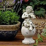 FTFTO Equipo de Vida Adornos de jardín Retro Lindo ángel Cemento Estatua de jardín para jardín Paisaje Decoración de césped Artesanía Regalo C: 15 * 15 * 35 cm