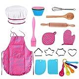Anpole 25Pcs Enfants Chef Set, Kids Kitchen Cadeau Kit Enfants Cuisiner Jouer Cuisine Tabliers Imperméables, Gant de Four, Batteur à Oeufs, Emporte Pièce pour Cadeau de Fille (rose-25pcs)