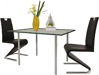 Tidyard Sillas de Comedor para Cocina Cantilever en U Cuero Artificial Pack de 2, Negro 45,5 x 63 x 101 cm