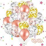 Sunshine smile Palloncini in Oro Rosa e Palloncini Coriandoli Oro Rosa,Palloncini Arco Kit per Compleanno Party Decorazioni,Balloon Arch Kit,Decorazioni per Feste di Compleanno Kit (Oro Rosa)