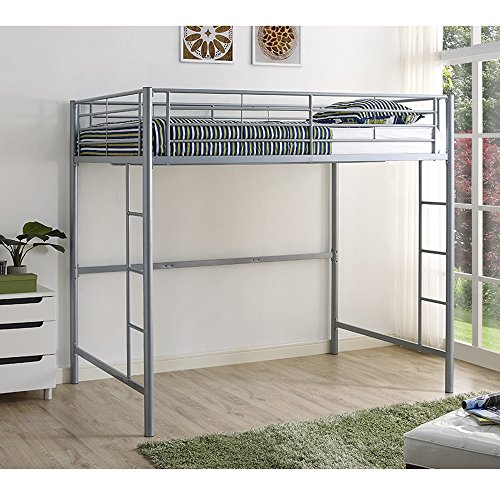 WE Furniture Modern Metal Pipe Full Double Size Loft Kids Bunk bed Bedroom Storage Guard Rail Ladder, Silver Grey
