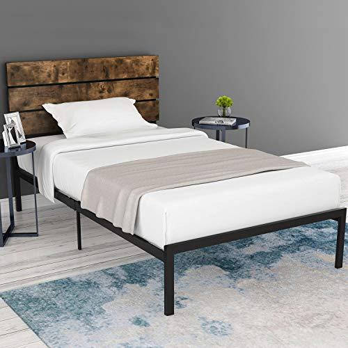 Amolife Twin Size Platform Bed Frame with Rustic Wooden Headboard/Mattress Foundation/Strong Metal Slats Support/No Box Spring Needed