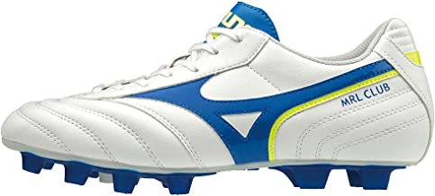 MIZUNO P1GA1916/19 MRL Club MD Men's Football Shoes, White/Wave Cup Blue/Safety Yellow