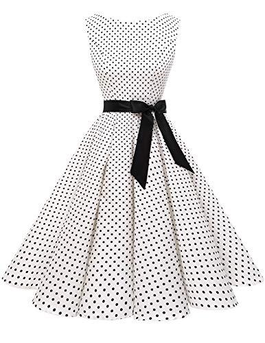 60s Vintage Party Dresses Audrey Hepburn Retro Rockabilly Polka Dots Boatneck Sleeveless with Belt White Small Black Dot XS