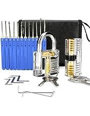 IPSXP zestaw wytrychów, 17 sztuk i 2 sztuki przezroczystych zamków treningowych ze skórzanym pokrowcem, narzędzie dla ślusarzy, początkujących i profesjonalistów