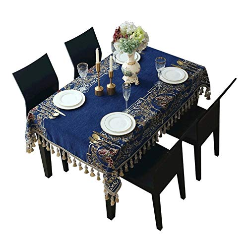HSZW Waterproof Table Cloth Tablecloth Tablecloth Anti-hot Embroidered European-style Rectangular Home Restaurant Tablecloth (Color : Deep blue, Size : 140 * 160cm)