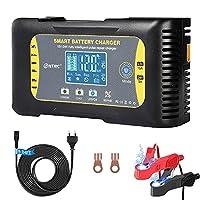 【Large gamme d'applications】 Le chargeur est conçu pour les batteries lithium, plomb-acide, LiFePo4 12V et 24V d'une capacité de 6Ah-120Ah (12V), h-60Ah (24V). 【Affichage numérique intelligent】 L'écran LCD indique le niveau de charge de la voiture et...