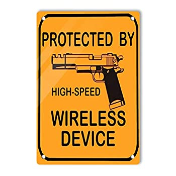 GONEI Aluminum Protected High Speed Wireless Device Sign 8 x 12 Inches Aluminum Warning Metal Signs Indoor or Outdoor Use for Home Business UV Protected & Waterproof