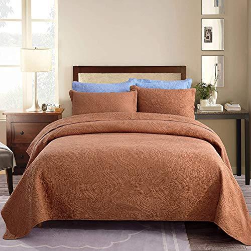 Brandream Steppdecken-Set für Queen-Size-Betten, gesteppt, aus Baumwolle, Tagesdecke, Tagesdecke, Bettbezug-Set, Kürbis-Orange, Damast (96 x 104 cm) mit Kissenbezügen in Standardgröße, 3-teilig