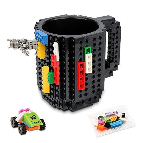 Jooheli Build on Brick Tasse, Kreative Building Blocks Mug Puzzle Becher DIY Kaffeetasse, Bausteine Tasse Bauklötze Kaffee-Becher Unterstützen 100 ℃, Einzigartige Weihnachtsgeschenkidee(Schwarz)