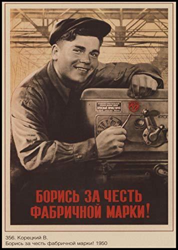 Abkaeh Cuadro de Diamante Cuadrado 5D Cartel soviético leninista DIY Bordado de Diamantes Punto de Cruz Bolso Hecho a Mano decoración del hogar Regalo-F_Round_Drill_40x50