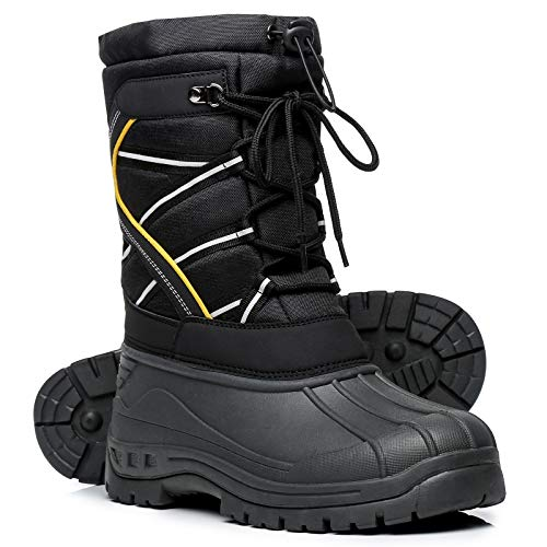 Faivykyd Men's Waterproof Snow Duck Boots, Insulated Winter Boots for Men, Non-Slip Mid-Calf Hunting Boots for Outdoor Hiking Fishing Skiing Black Size 8