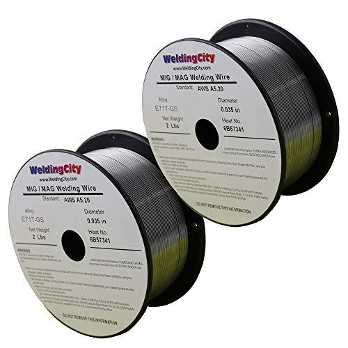 WeldingCity 2 Rolls of E71T-GS Flux Core Gasless Mild Steel MIG Welding Wire 0.030