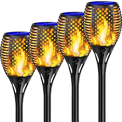 Shinmax Luz Solar Llama de Exterior,33 LED Luces Antorchas Solares,IP65 Impermeable Encendido/Apagado Automático Luces Solares,Luces Jardín Solares para Terraza,Jardín,Patio, Fiestas,Ruta