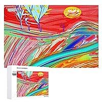 赤い夕日の風景の絵 木製パズル大人の贈り物子供の誕生日プレゼント(50x75cm)1000ピースのパズル