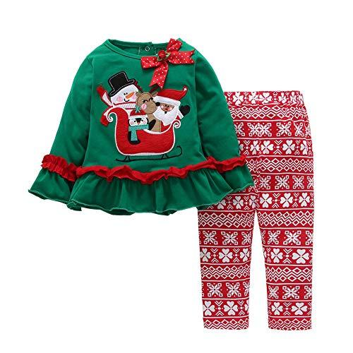 Cuteelf Kinder Langarm Weihnachten Cartoon Trompete Ärmel Tops + Hosen Zweiteiler Kleinkind Baby Mädchen Cartoon Weihnachten Rüschen Top Hosen Set