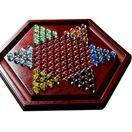 FreshWater Tragbares Chinesisches Checkers-brettspiel Mit Marmorholz-brettspiel Hexagon Chinese Checkers Familienspielset Slot Storage Puzzle Bounce Wooden Checkers Board