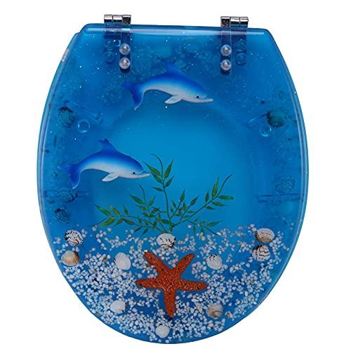 Runtodo Asiento de Inodoro de Resina Art Close con Tapa, Tapa de Inodoro Resistente de Efectos 3D con DelfíN, Estrella de Mar, Conchas Marinas Reales y Inodoro Tipo S, Azul Cristal