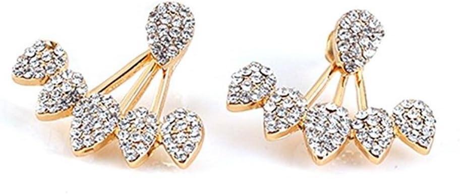 Rhinestone Water Drop Stud Earrings Crawler Earrings Cuff Climber Ear Wrap Pin Double Sided Earrings Women