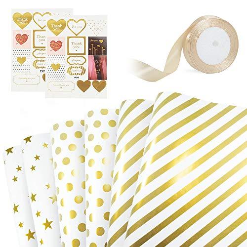 Geschenkpapier Set, 6 Blatt Weiß Gold Geschenkpapier, 2 Blatt Aufkleber, 1 Rolle Goldband für Geburtstag Hochzeit Thanksgiving Weihnachts-Weiß