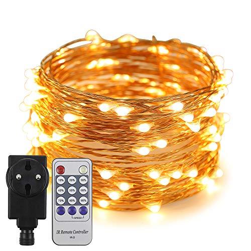 Erchen Strom-betrieben LED Lichterkette, 33 FT 100 LED 10M Stecker dimmbare Kupfer Draht Lichterketten mit 4.5V DC Adapter Fernbedienung für Innen Außen Weihnachten Party (warmweiß)