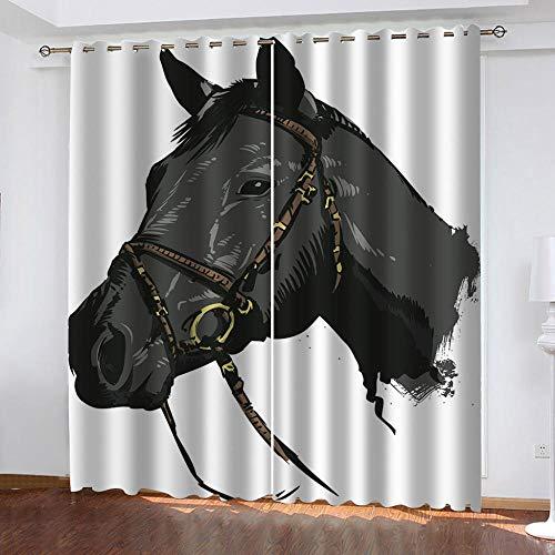 3D Cortinas Opacas Cabeza de caballo negro Cortinas Opacas Telas Termicas Aislantes Reducción de ruido Luz Bloquear protección UV para Salon y Dormitorio Conjunto Cortina-W117X183cmX2 Panel