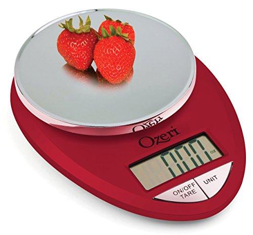 Ozeri ZK12-R Pro Digital Kitchen Food Scale, 1g/12 lb, Red Engine