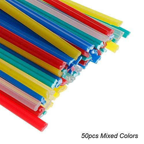 Soldar electrodos de barra PP PVC Electrodos de plástico 50 unids Barras de soldadura de plástico para reparación de parachoques de automóviles Kit de plástico Soldador Kit Herramientas de mano para p