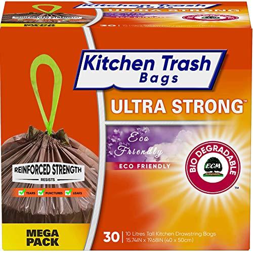 Bolsas de Basura biodegradables y compostables (10 L, 30 Bolsas) fabricado con material compostable biodegradable. Ideal para residuos orgánicos de cocina 45x50cm Bolsa con asas correderas