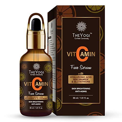 The Yogi Vitamin C Serum for face Whitening, Pigmentation, Glowing, Oily Skin, Acne Scars,Brightening,Fairness,Anti-Aging Skin Repair with Hyaluronic Acid, Niacinamide, Glutathione, Genuine 20% (30ml)
