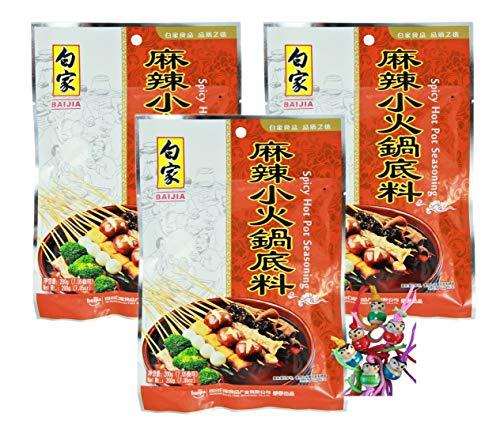 yoaxia ® - 3er Pack - [ 3x 200g ] BAIJIA Hot Pot Würzige Sauce Mix / Feuertopf Pikante Würzpaste / Spicy Seasoning + ein kleines Glückspüppchen - Holzpüppchen