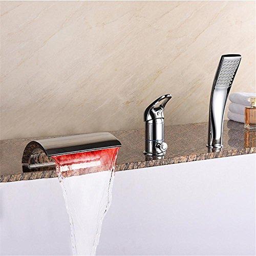 NIHE Mode cuivre de haute qualité contrôle de la lumière LED robinet salle de bain complète grande douche cascade baignoire robinet gigogne