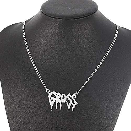 AISHIPING Brief halsketting vrouwen Harajuku sieraden straat hanger typeplaatje roestvrij staal hip hop accessoire kraag