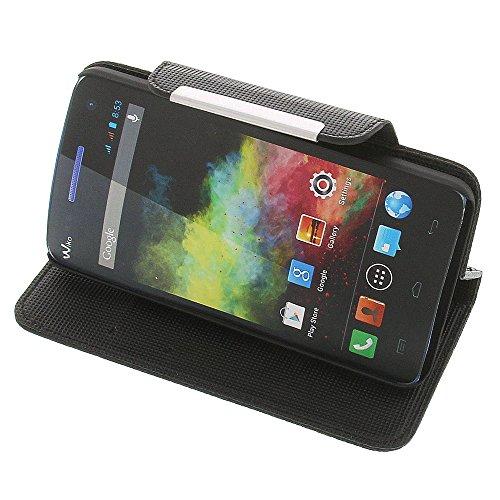Tasche für Wiko Rainbow Rainbow 4G Book Style Metall schwarz Kreditkarte Schutz Hülle Buch