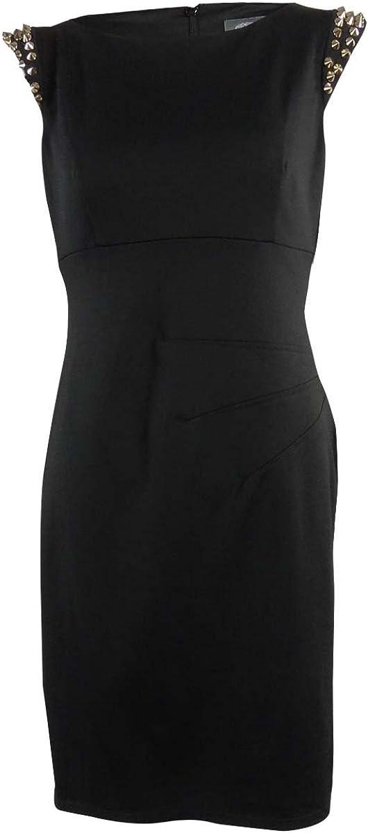 Vince Camuto Women's Studded Shoulders Ponte Sheath Dress (10, Black)