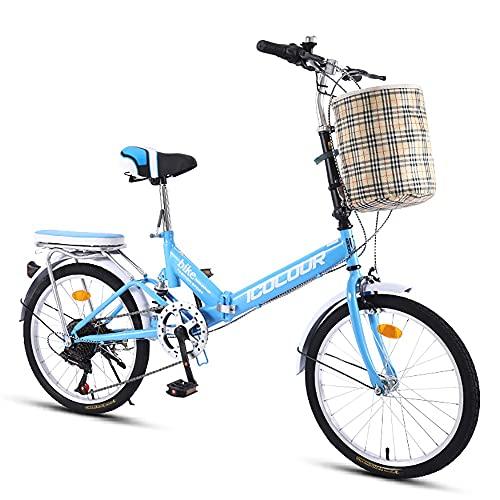DODOBD Bicicletta Pieghevole Mini Bicicletta Pieghevole 16 Pollici a velocità variabile Uomini Donne di età Studenti Bambini Bici di Sport, Bici da Città, 6 velocità Variabile