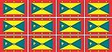 Mini Aufkleber Set - Pack glatt - 50x31mm - Sticker - Fahne - Grenada - Flagge - Banner - Standarte fürs Auto, Büro, zu Hause & die Schule - 12 Stück