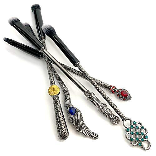 Potter Wizard Wand Makeup Brushes Set, 5pcs bewitching eyeshadow brushes ornate bejeweled gun metal alloy handles