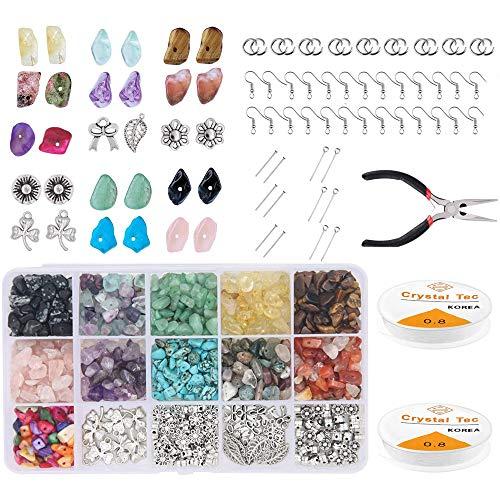 Kit de Cuentas de Piedras Preciosas Naturales, 933 Piezas de Chips Irregulares, Accesorios de Cuentas de Piedra para Joyería DIY, Collar, Pulsera, Fabricación de Pendientes