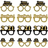 VEYLIN 12Pcs Happy New Year Eyeglasses Bulk, Fancy Glitter Decorative Eye Glasses for 2020 New Year's Eve New Year Party Supplies (4 Style)