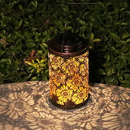 Afirst Solar Lanterns Outdoor Hanging Decorative Solar Lights Outdoor Metal Waterproof LED Table Lamp for Garden Patio Courtyard Lawn and Tabletop with Shadow Casting