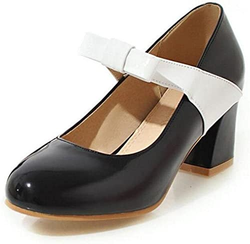 GLTER Femmes Closed-Toe Pumps Bow Tie Talons hauts Sandales Court Chaussures Indie Pops Mary Jane Chaussures