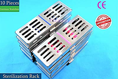 German Dental Sterilization AUTOCLAVABLE Rack Tray Box for 5 Instruments, 10 EA Stainless Steel AUTOCLAVABLE (CYNAMED)