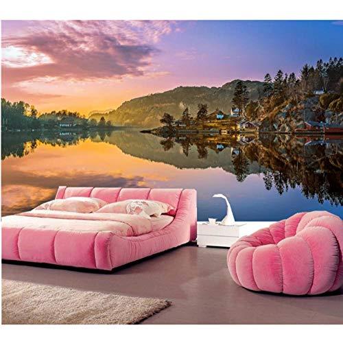 Makeyong Aangepaste Noorwegen Lake Mountains Landschap Natuur Fotobehang Muurbehang, Woonkamer Tv Bank Muur Slaapkamer Grote Muren 300x210cm