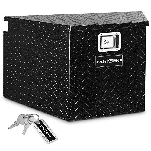 ARKSEN 33-Inch Diamond Plate Aluminum Trailer Tongue Box Pickup Truck Tool Box Storage Organizer With Lock Key, Black