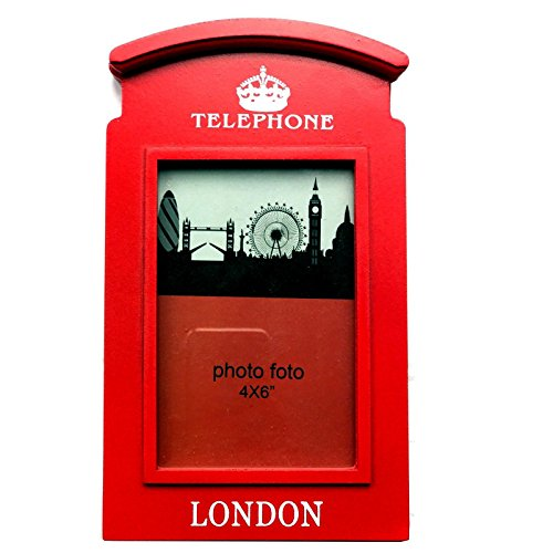De madera marco de fotos 6x 4Inch Rojo caja pública Londres Cabina de teléfono británica souvenir regalo