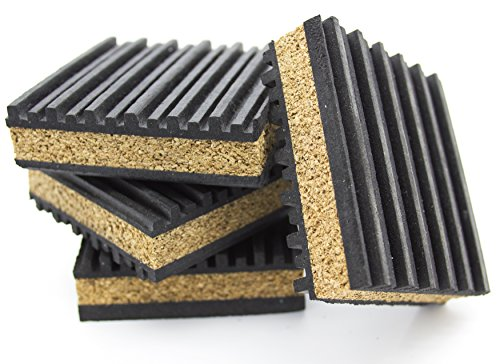 "PneumaticPlus Anti Vibration Rubber & Cork isolation pads, Pack of 4 (3"" X 3"" X 7/8"")"