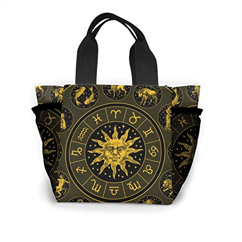 Zodiac Wheel Astrology Horoscope With Circle Sun Shopping Tote For Women Insulated Lunch Tote Bag Cute Lunch Box Lunchbox Reusable Lunch Bag Lunch Organizer Lunch Holder For Women Adult Girls Kids Men
