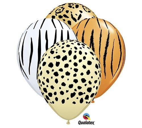12 x Animal Print Balloons Set. Inc; Leopard, Zebra, Tiger.