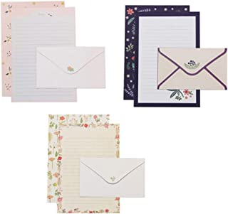 Tomaibaby Stationary Paper and Envelopes Set, Floral Printing Letter Papers, Set of 6